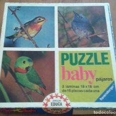Puzzles: PUZZLE BABY PAJAROS - 3 LAMINAS 18CMX18CM - JUEGOS EDUCA - AÑOS 70 - REF 15232. Lote 86855236