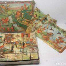 Puzzles: ANTIGUO ROMPECABEZAS NIÑOS HACIENDO TRAVESURAS, GAMBERRADAS, 30 CUBOS, AÑOS 50-60. Lote 89013756