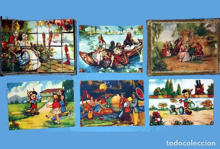 ANTIGUO Y PRECIOSO ROMPECABEZAS DE 20 CUBOS DE CARTON CON PAPEL LITOGRAFIADO - BONITAS ILUSTRACIONES (Juguetes - Juegos - Puzles)