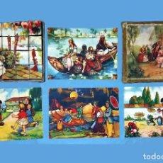Puzzles: ANTIGUO Y PRECIOSO ROMPECABEZAS DE 20 CUBOS DE CARTON CON PAPEL LITOGRAFIADO - BONITAS ILUSTRACIONES. Lote 94779359