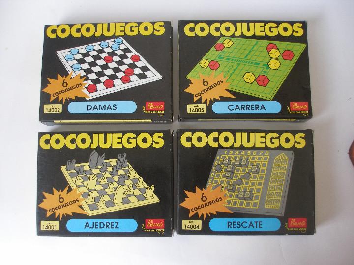 CUATRO COCOJUEGOS AJEDREZ DAMAS RESCATE Y CARRERAS DE EVALAND ALICANTE AÑOS 80- A ESTRENAR (Juguetes - Juegos - Puzles)