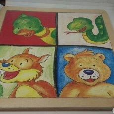 Puzzles: PUZZLE DE MADERA ANIMALES INFANTIL 4 MODELOS. Lote 115261515