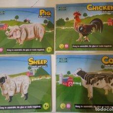Puzzles: COLECCION DE 4 PUZZLES NUEVOS DE MADERA DE 4 ANIMALES DE GRANJA . Lote 115322203