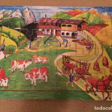 Puzzles: PUZZLE DE MADERA GRANJA CAMPO MONTAÑA VACA CARRO CAMPESINO KREATEN INFANTIL EDUCATIVO 6X4 24 PIEZAS. Lote 116355179