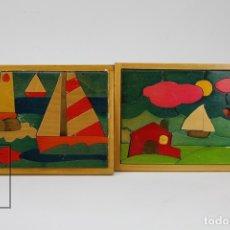Puzzles: ANTIGUOS PUZLES / ROMPECABEZAS DE MADERA - PAISAJES CON BARCO - FALTA UNA PIEZA. Lote 122063400