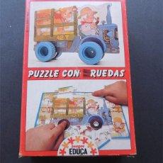 Puzzles: PUZZLE CON RUEDAS / TRACTOR / JUEGOS EDUCA / SALLENT HNOS. SABADELL / SIN USAR. Lote 122201511