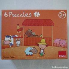 Puzzles: CAJA DE 6 PUZZLES DE MADERA - ILUSTRACIONES MARTA CABROL - GOULA - 2013. Lote 122304895