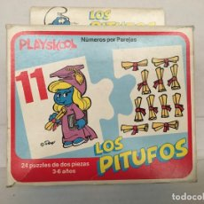 Puzzles: PUZZLE INFANTIL LOS PITUFOS DE PLAYSKOOL AÑOS 70. Lote 130376430