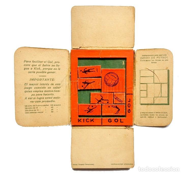 Puzzles: JUEGO FÚTBOL ROMPECABEZAS KICK GOL OBSEQUIO PASTILLAS CAFÉ LECHE VIUDA DE SOLANO LOGROÑO AÑOS 40 50 - Foto 2 - 127636223