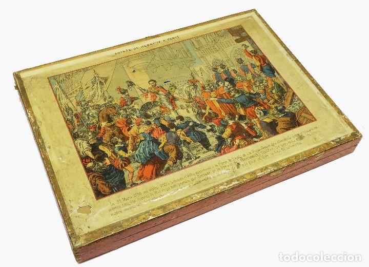1880 - MUY RAROS Y ANTIGUOS PUZZLES (3) DE HISTORIA DE FRANCIA - EN SU CAJA (Juguetes - Juegos - Puzles)