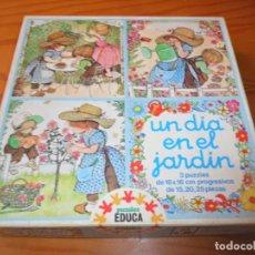 Puzzles: UN DIA EN EL JARDIN, 3 PUZZLES EDUCA, (DIAS FELICES SARAH KAY...)- COMPLETO SALLENT HNOS. . Lote 133832858