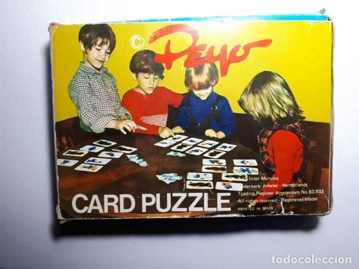 PEYO CARD PUZZLE - PITUFOS - AÑOS 70 (RARO) (Juguetes - Juegos - Puzles)