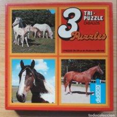 Puzzles: TRI-PUZZLE - CABALLOS - 3 PUZZLES 20 X 20 CM DE 56 PIEZAS CADA UNO - AÑOS 80 - DIDACTA - REF.4501. Lote 147908250