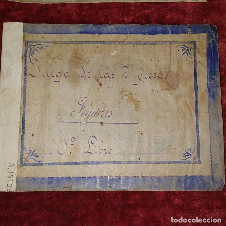 Puzzles: JUEGO DE LAS 7 PIEZAS O ROMPE-CABEZAS. ACUARELA. MANUSCRITO. ESPAÑA. FIN SIGLO XIX - Foto 2 - 159504382