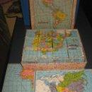 Puzzles: PUZZLE EN CUBOS AÑOS 50. ESPAÑA Y PORTUGAL.EUR0OPA, ASIA, AFRICA, AMERICA. OCEANIA. Lote 160152478