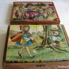 Puzzles: PUZLE ROMPECABEZAS DE 12 CUBOS DE MADERA CON ARENA INTERIOR 6 ESCENAS DE JUEGOS INFANTILES 1930. Lote 222190787