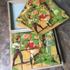 Puzzles: PUZZLE O ROMPECABEZAS DE CUBOS DE MADERA, COMPLETO, LA CAJA MIDE 17X20CM. Lote 169413264