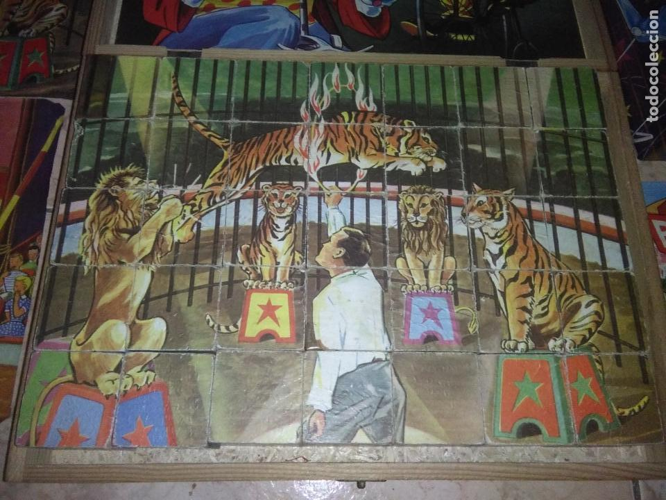 Puzzles: ROMPECABEZAS DE 35 cUBOS DE MADERA con PAPEL LITOGRAFIADO con ILUSTRACIONES del circo años 50 60 - Foto 10 - 171967415