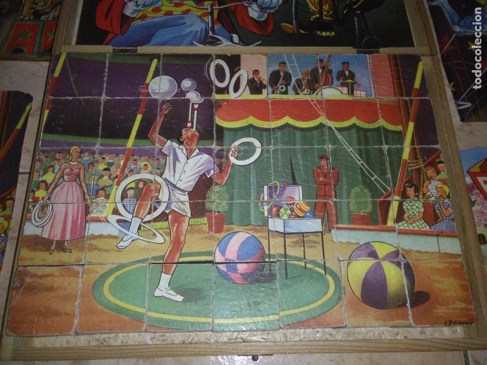 Puzzles: ROMPECABEZAS DE 35 cUBOS DE MADERA con PAPEL LITOGRAFIADO con ILUSTRACIONES del circo años 50 60 - Foto 12 - 171967415