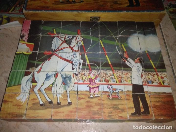 Puzzles: ROMPECABEZAS DE 35 cUBOS DE MADERA con PAPEL LITOGRAFIADO con ILUSTRACIONES del circo años 50 60 - Foto 15 - 171967415