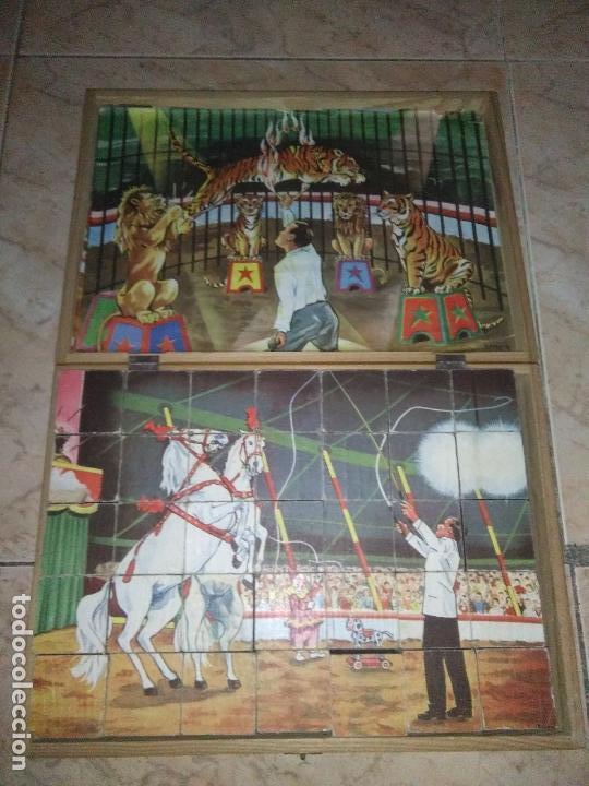 Puzzles: ROMPECABEZAS DE 35 cUBOS DE MADERA con PAPEL LITOGRAFIADO con ILUSTRACIONES del circo años 50 60 - Foto 17 - 171967415