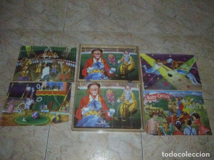 ROMPECABEZAS DE 35 CUBOS DE MADERA CON PAPEL LITOGRAFIADO CON ILUSTRACIONES DEL CIRCO AÑOS 50 60 (Juguetes - Juegos - Puzles)