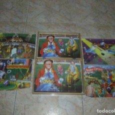Puzzles: ROMPECABEZAS DE 35 CUBOS DE MADERA CON PAPEL LITOGRAFIADO CON ILUSTRACIONES DEL CIRCO AÑOS 50 60. Lote 171967415