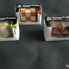 Puzzles: ROMPECABEZAS MENSA DE MADERA PUZZLES X 3 POCKET WOODEN HARDER EN CAJAS ORIGINALES NUEVOS SIN USO. Lote 195148048