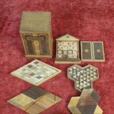 Puzzles: CAJA DE CAUDALES, CAJA Y 3 PUZZLES. MADERA TALLADA. SIGLO XIX-XX. . Lote 187151320