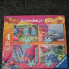 Puzzles: PUZZLE TROLLS 4 EN 1. + 3 AÑOS. Lote 189745156