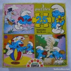 Puzzles: CAJA CON 3 PUZZLES DE 25 PIEZAS DE LOS PITUFOS - EDUCA . Lote 191339286