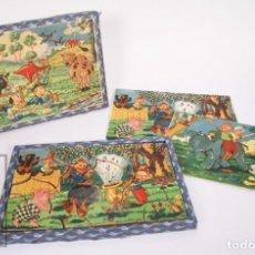 Puzzles: ANTIGUO PUZZLE / PUZLE DE LOS AÑOS 30-40 - 3 ESCENAS - MADERA Y PAPEL - MEDIDAS 26 X 18 X 2 CM. Lote 192983875