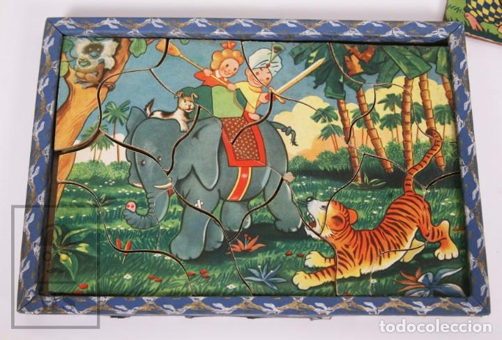 Puzzles: Antiguo Puzzle / Puzle de los Años 30-40 - 3 Escenas - Madera y Papel - Medidas 26 x 18 x 2 cm - Foto 6 - 192983875