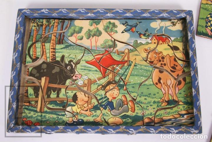 Puzzles: Antiguo Puzzle / Puzle de los Años 30-40 - 3 Escenas - Madera y Papel - Medidas 26 x 18 x 2 cm - Foto 7 - 192983875