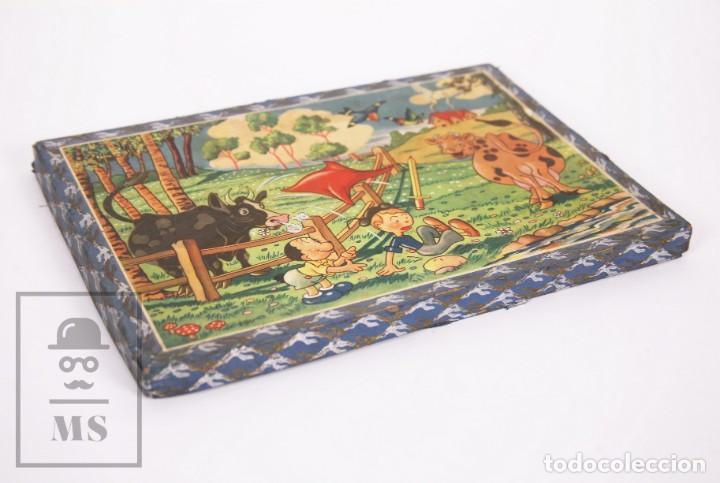 Puzzles: Antiguo Puzzle / Puzle de los Años 30-40 - 3 Escenas - Madera y Papel - Medidas 26 x 18 x 2 cm - Foto 8 - 192983875