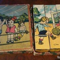 Puzzles: ROMPECABEZAS MUY ANTIGUO DE CARTON EN SU CAJA - 12 CUBOS. Lote 195113420