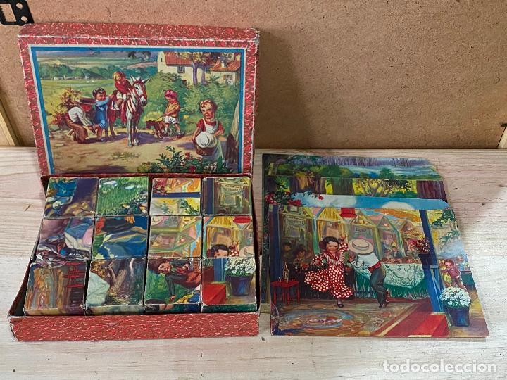 PRECIOSO PUZLE DE CUBOS ROMPECABEZAS INFANTIL AÑOS 40 - COMPLETO - PUZZLE (Juguetes - Juegos - Puzles)