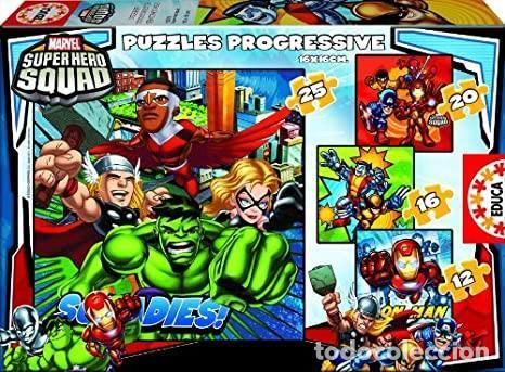 PUZZLE PROGRESIVO SUPER HERO SQUAD CONTIENE 4 PUZZLES CON DIFERENTE NÚMERO DE PIEZAS (ENTRE 12 Y 25) (Juguetes - Juegos - Puzles)