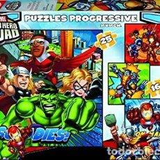 Puzzles: PUZZLE PROGRESIVO SUPER HERO SQUAD CONTIENE 4 PUZZLES CON DIFERENTE NÚMERO DE PIEZAS (ENTRE 12 Y 25). Lote 199223373