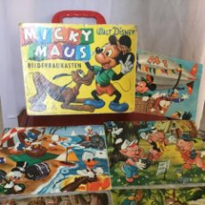 Puzzles: ANTIGUO ROMPECABEZAS MADERA CUBOS MALETÍN WALT DISNEY MICKY MOUSE. Lote 205772361