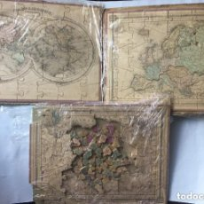 Puzzles: PUZZLES; J.G. BARBIE DU BOCAGE - ATLAS GÉOGRAPHIQUE - 3 PUZZLES - 1850 - MAPA MUNDI EUROPA Y FRANCIA. Lote 205777556