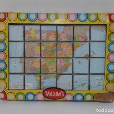 Puzzles: PUZZLE ROMPECABEZAS 24 CUBOS PLASTICO MAXIMS, MAPA DE ESPAÑA ANTIGUO, AÑOS 70. Lote 206824558