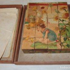 Puzzles: PUZZLE DE CUBOS DE MADERA,MOTIVOS INFANTILES,FINALES DEL S.XIX,CAJA ORIGINAL. Lote 212624550