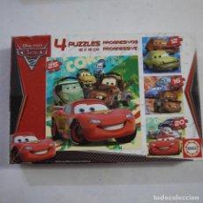 Puzzles: 4 PUZZLES PROGRESIVOS DE CARS DE 12, 16, 20 Y 25 PIEZAS DE 16X16 CM - EDUCA. Lote 213584511