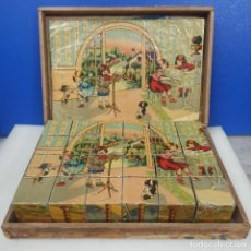Puzzles: ANTIGUO PUZZLE CUBOS CARTON EN CAJA ORIGINAL DE MADERA CON 24 PIEZAS. Lote 218616937
