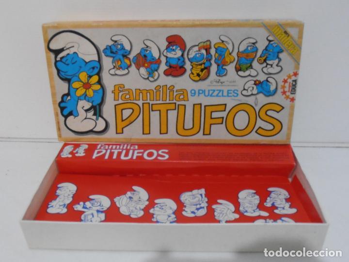PUZZLE EN MADERA, 9 PUZLES FAMILIA PITUFOS COMPLETO, EDUCA, AÑOS 80 (Juguetes - Juegos - Puzles)