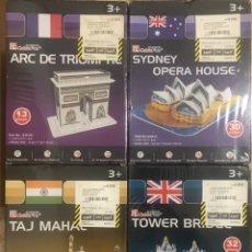 Puzzles: LOTE 4 PUZZLES 3D CUBIC FUN - PRECINTADOS MONUMENTOS MUNDO TAJ MAHAL TOWER BRIDGE SYDNEY ARCO TRIUNF. Lote 233767910