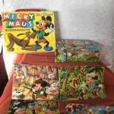 Puzzles: MALETIN MADERA ROMPECABEZAS CUBOS MICKEY MOUSE WALT DISNEY. Lote 236170140