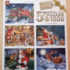 Puzzles: PACK 5 PUZZLES PUZLES 1000 PIEZAS - KING - SANTA CLAUS - NAVIDAD. Lote 244843510