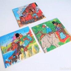 Puzzles: 3 PUZZLES DE 16 PIEZAS CADA UNO DE LA SERIE DE BRB LA VUELTA AL MUNDO DE WILLY FOG DE DIDACTA. Lote 254880180